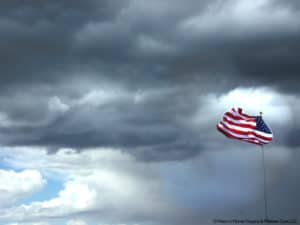 American Flag in Storm
